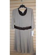 NEW AMANDA LANE WOMENS PLUS SIZE 2X TAUPE KNIT INFINITY SCARF BELT DRESS... - $19.34