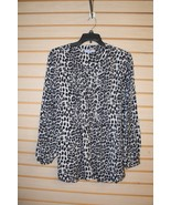 NEW WOMENS PLUS SIZE 22/24W LAURA SCOTT GREY LEOPARD WORK CAREER SHIRT B... - $14.50