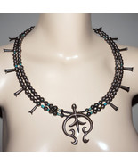 """Early Vintage 28"""" Navajo Sterling Turquoise Squash Blossom Necklace Esta... - $400.00"""