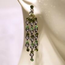 Vintage Green Rhinestone Tassel Fringe Chandelier Earrings Pierced - $30.00