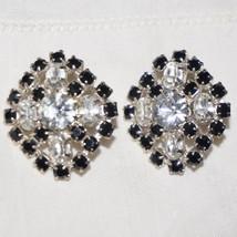 Vintage Prong Set Rhinestone French Jet Pierced Earrings Black & White F... - $40.00
