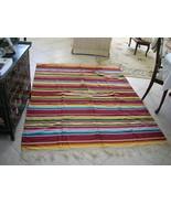 95 x 67 Vintage 40s Mexican Serape Saltillo Rug Rainbow Colors - $450.00