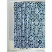 "InterDesign Medallion Shower Curtain, Stall/54 x 78"", White/Ink Blue - $12.86"