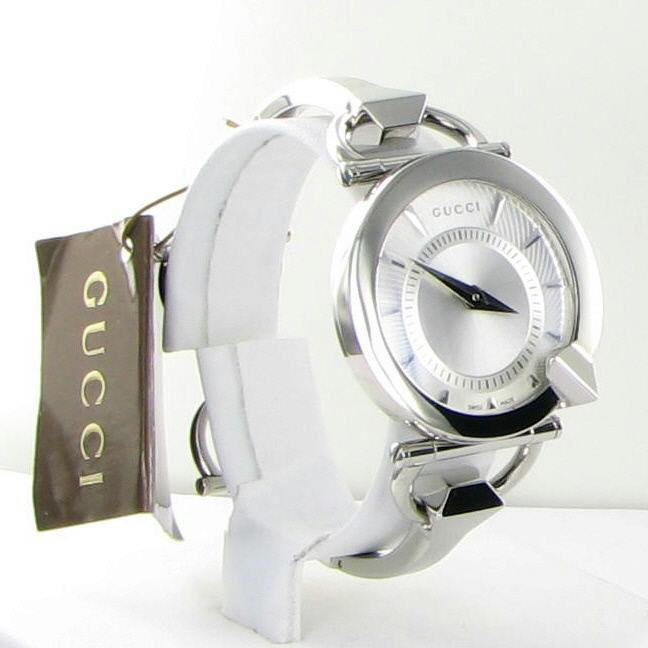b99908aa2e1 Gucci Chiodo 122 Silver Helical Dia Ladies 35mm Watch NWT YA122508  795