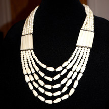 Vintage Ethnic Tribal Boho Indie Carved Bone Multi Strand Necklace - $68.00