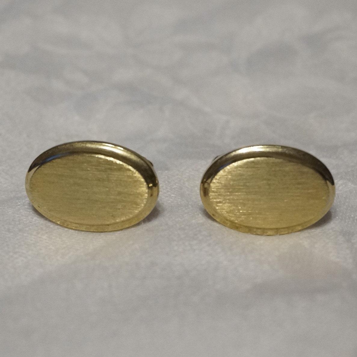 Vintage Gold Tone Etched Men/'s Cufflink Set