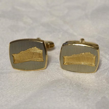 Mens Vintage 50s Gold Plated Historical Landmark Cufflinks Cuff Links Tw... - $35.00