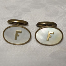 Mens Vintage Art Deco Mother of Pearl F Monogram Brass Cufflinks Cuff Links - $40.00
