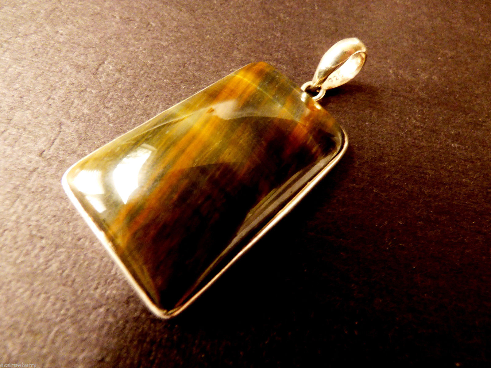 Artisan Hand Crafted Sterling Silver 925 Amazing Tiger Eye Stone Pendant