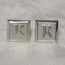 """Vintage Swank Enamel Silver Plated Engraved """"K"""" Monogram Cufflinks - $30.00"""