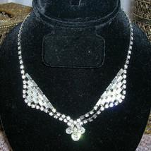 Vintage Prong Set Rhinestone Faux Diamond Holiday Bridal Necklace New Ye... - $65.00