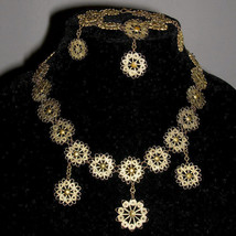 Vintage Art Nouveau Brass Filigree Festoon Choker Necklace Bracelet set - $100.00