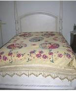 Vintage Art Deco Italian Figural Bedspread Pierrot Clown Lady Coverlet - $600.00