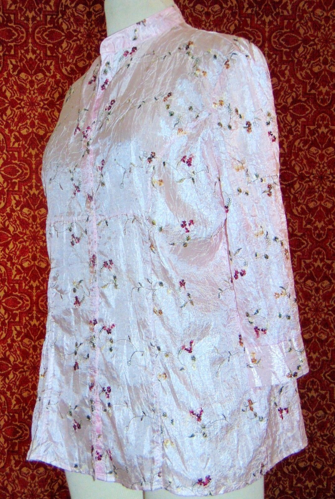 CLAUDIA RICHARD pink floral polyester 3/4 sleeve button blouse M (T43-04E9G) image 3