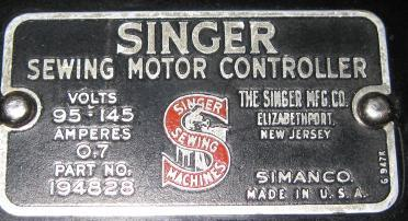 Singer sewing motor controller foot pedal 194828 used for Singer sewing machine motor controller