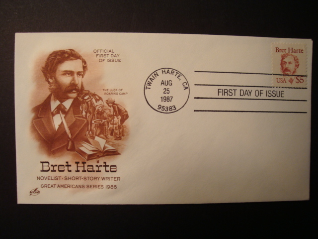 FDC, Great American Series. Bret Harte $5 issue.