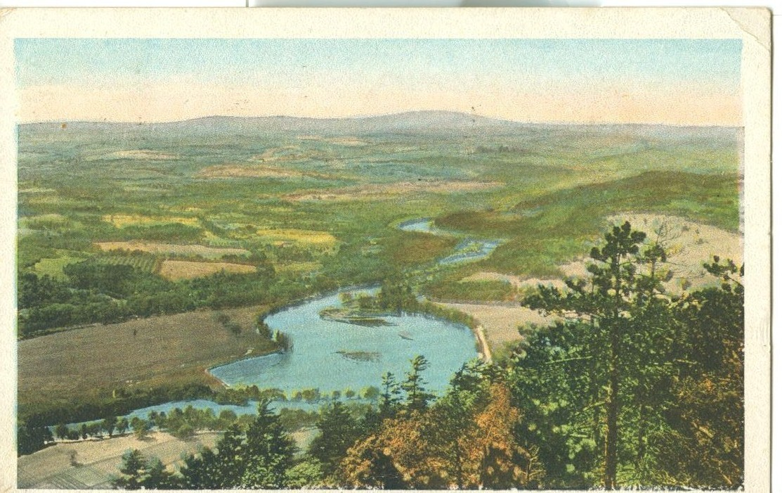 Bird's eye view, North from Mt. Wantastiquet, Brattleboro, Vt 1923 used Postcard