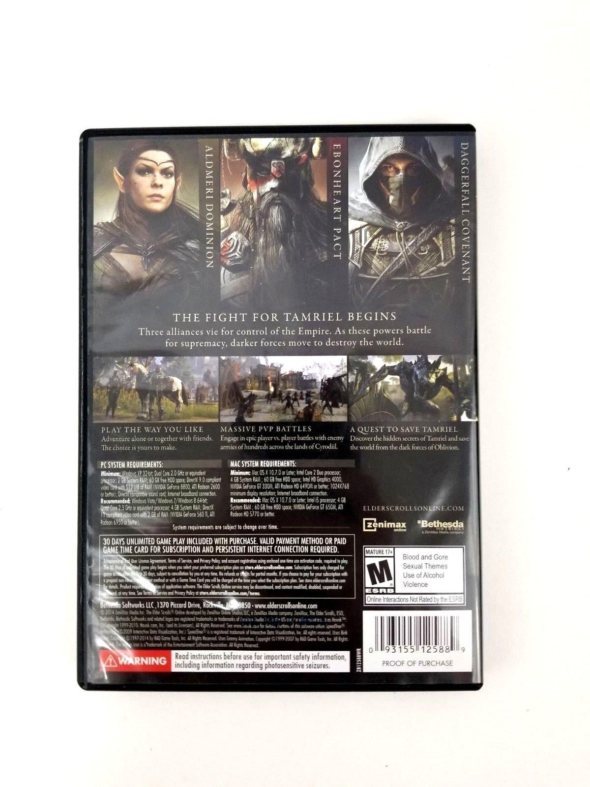 The Elder Scrolls Online PC DVD-ROM 4 Disc Set PC and MAC New Open Box Rated M