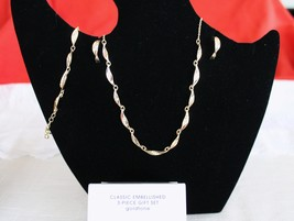 Classic Embellished Necklace, Earring, and Bracelet Gift Set - Gold tone - 3 Pc - $15.78