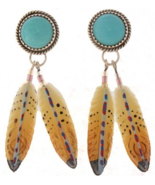 Feather Dangle Earrings Turquoise Sterling Silv... - $129.97