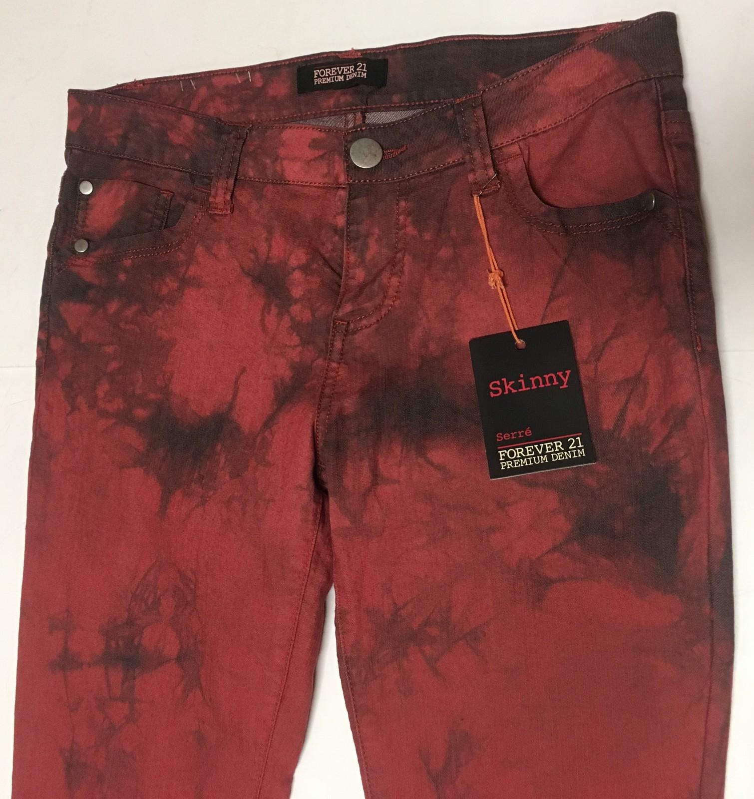 Forever 21 Denim Skinny Jeans Sz 27 x 31 Red & Black Tie Dyed  image 3