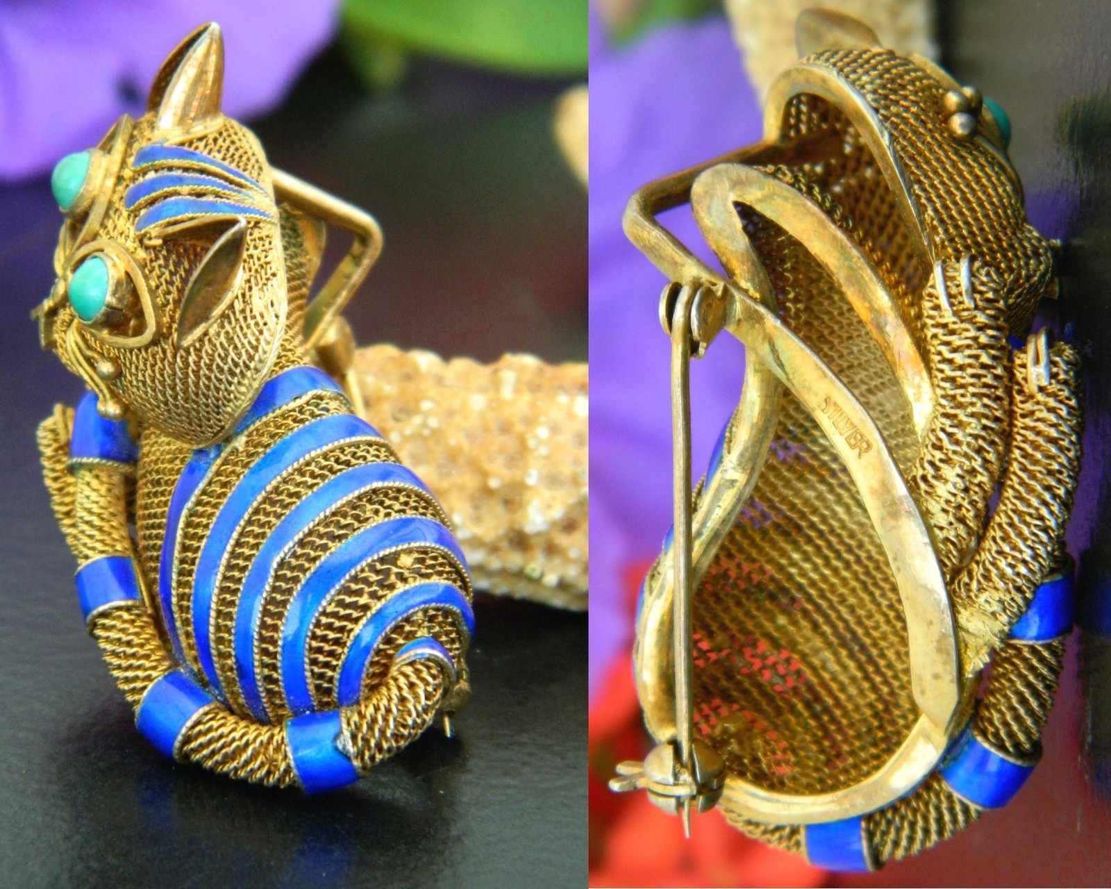 Vintage Mesh Cat Brooch Pin Chinese Silver Turquoise Gold Blue Enamel