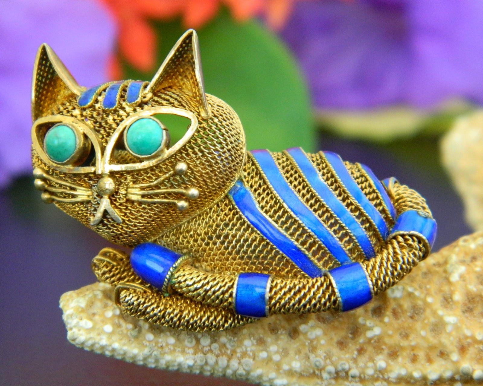 Vintage mesh chinese cat brooch pin silver gold blue enamel turquoise