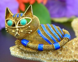 Vintage Mesh Cat Brooch Pin Chinese Silver Turquoise Gold Blue Enamel - $89.95