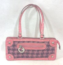 Guess Pink Crocodile and Plaid Wool Handbag Purse - $12.99