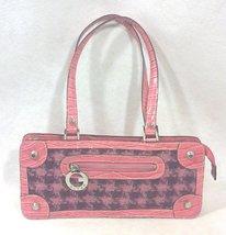 Guess Pink Crocodile and Plaid Wool Handbag Purse - $27.99