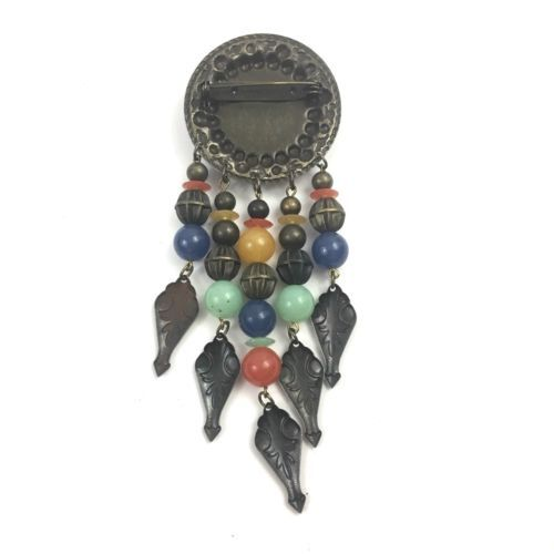 Vintage Beaded Necklace Brooch Earrings Set Plastic Metal Beads Tribal Natural