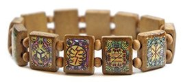 Animal Paw Reiki Healing Symbols Brown Wood Stretch Bracelet [Jewelry] - $14.95