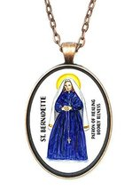 St Bernadette Patron of Healing Illness Huge 30x40mm Antique Copper Pend... - $14.95