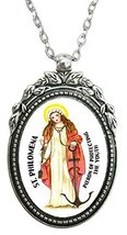 "St Philomena Patron of Protecing Youth Huge 2"" Antique Silver Pendant [J... - $19.95"