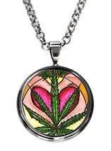 I Heart Marijuana Gunmetal Pendant with Chain Necklace [Jewelry] - $14.95