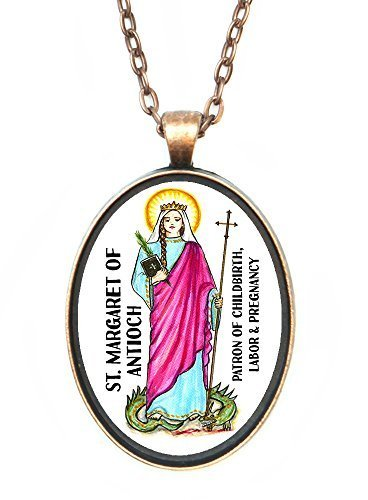 St Margaret of Antioch Patron of Pregnancy Huge 30x40mm Antique Copper Pendant