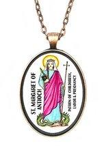 St Margaret of Antioch Patron of Pregnancy Huge 30x40mm Antique Copper Pendant - $14.95