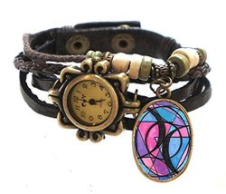 "Bisexual Brown Boho Leather Charm Bracelet Watch 7"" to 8 1/4"" [Watch] - $14.95"