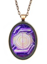 Reiki Healing Hands Huge 30x40mm Amulet Talisman Antique Copper Pendant ... - $14.95