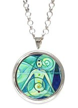 Green Chakra Yoga Silver Pendant with Chain Nec... - $14.95