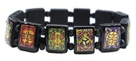 Animal Paw Reiki Healing Symbols Black Wood Stretch Bracelet [Jewelry] - $14.95