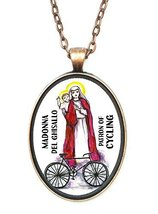 Madonna Del Ghisallo Patron of Cycling Huge 30x40mm Antique Copper Penda... - $14.95