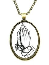 Praying Hands Huge 30x40mm Handmade Antique Bronze Gold Pendant [Jewelry] - $14.95