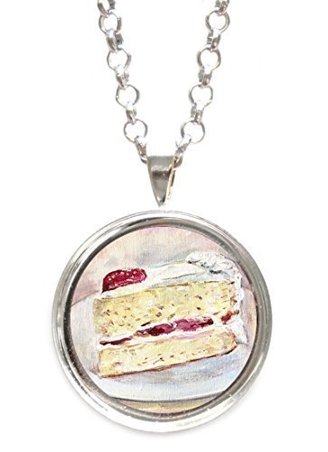 Strawberry Cheesecake Silver Pendant with Chain Necklace [Jewelry]