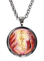 Hon Sha Ze Sho Nen Distance Reiki Healing Hands Gunmetal Pendant with Ch... - $14.95