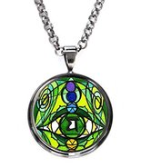 Fourth Chakra Opening Eye Heart of All Matters Gunmetal Pendant with Cha... - $14.95