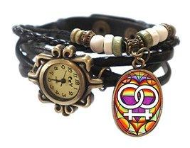 "Lesbian Black Boho Leather Charm Bracelet Watch 7"" to 8 1/4"" [Watch] - $14.95"