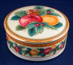 Mikasa Christmas Holiday Fruit Trinket Jewelry Gift Round Box - $15.00