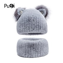 Pudi HF7034 Ms new rabbit fur scarf hat lovely silver fox ears design fa... - $89.70
