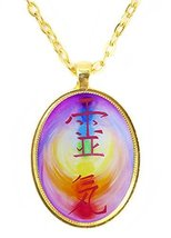 Reiki Distance Healing Huge 30x40mm Amulet Talisman Bright Gold Pendant with ... - $14.95